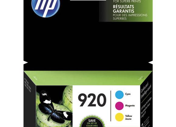 HP 920 3-pack Cyan/Magenta/Yellow Original Ink Cartridges, N9H55FN#140