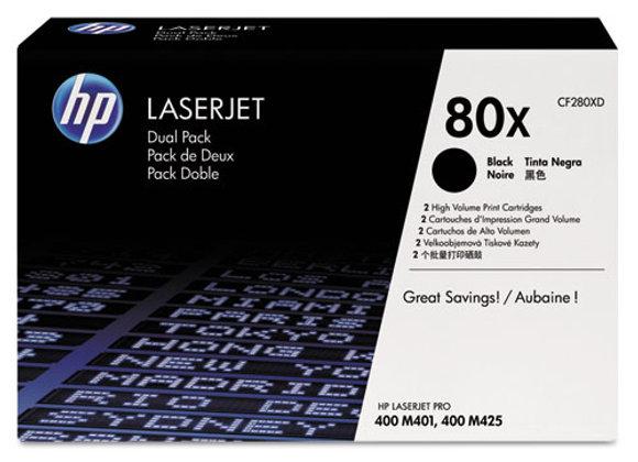 HP 80X 2-pack High Yield Black Original LaserJet Toner Cartridges, CF280XD