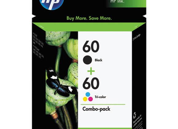HP 60 2-pack Black/Tri-color Original Ink Cartridges, N9H63FN#140