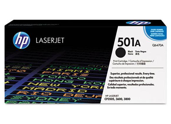 HP 501A Black Original LaserJet Toner Cartridge, Q6470A