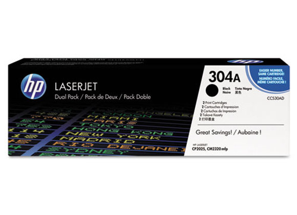 HP 304A 2-pack Black Original LaserJet Toner Cartridges, CC530AD