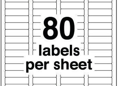 LABELS 1/2x1-3/4 80PSHT 100SHEETS 8K/BX