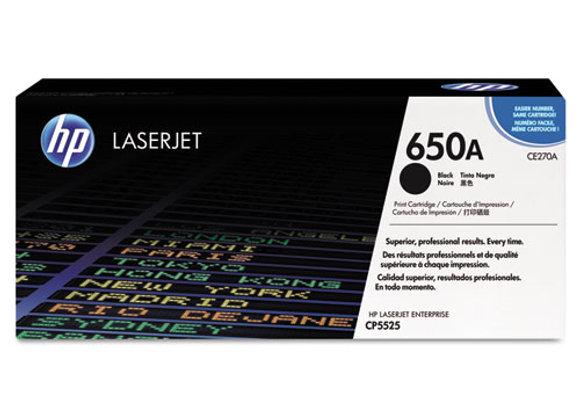 HP 650A Black Original LaserJet Toner Cartridge, CE270A