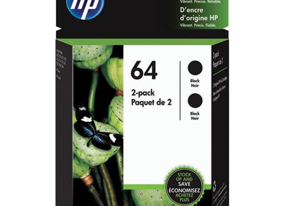 HP 64 Black Original Ink Crtg 2-Pack
