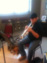 Man in trumpet lesson.