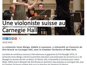 """A """"swiss"""" violinist at Carnegie Hall"""