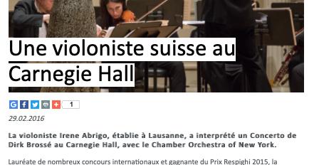 An Italian-Swiss Violinist at Carnegie Hall