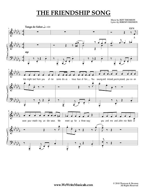 Sheet Music for Comedy Song (Musical Theatre Comedy Duet)