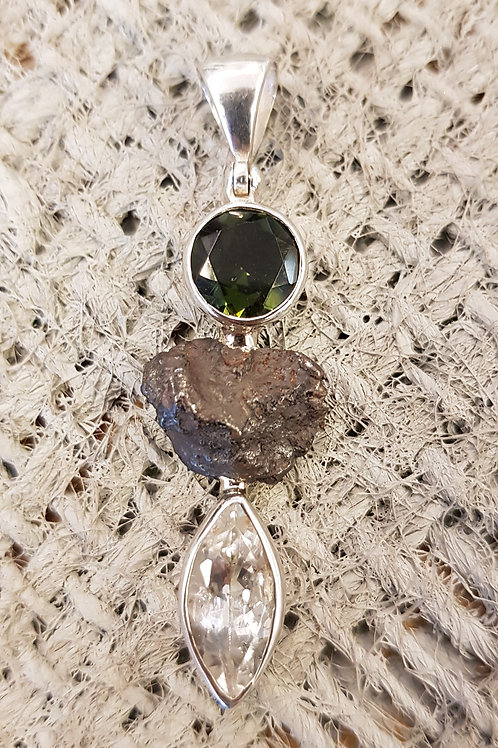 Anhänger Silber mit Meteorit und Moldavit
