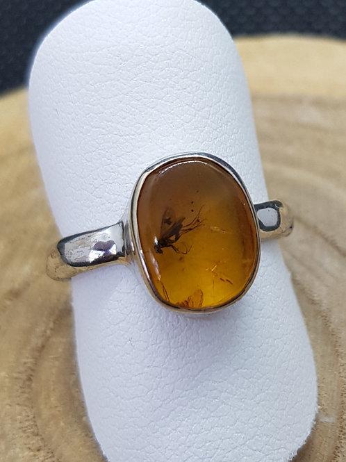 Ring Silber, Bernstein mit Insekteneinschluss, von Starborncreations