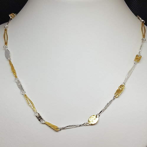 Designerkette Silber teilvergoldet EvaStone