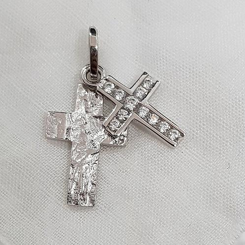 Anhänger Silber, 2 Kreuze übereinander mit Zirkonia