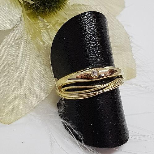Filigraner Ring 585 Gelbgold mit Brillant 0,04ct