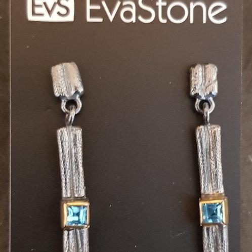 Ohrhänger Silber geschwärzt mit Blautopas von EvaStone