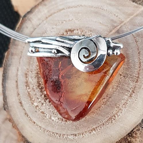 Anhänger Silber mit Naturbelassenem Bernstein, Handarbeit, Unikat