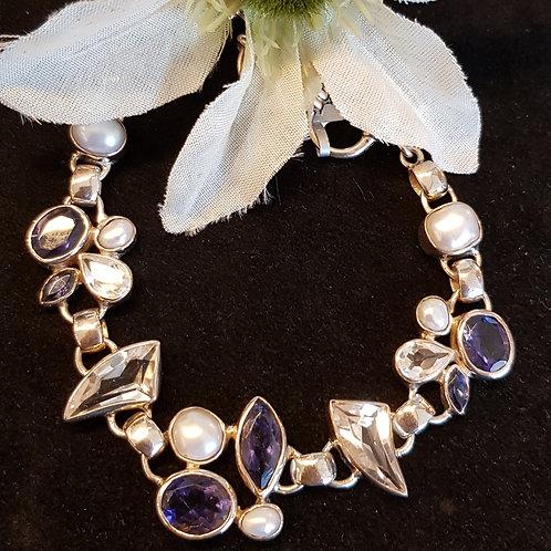 Designerarmband Silber mit Iolit, Topas und Süßwasserzuchtperle, von Starborn