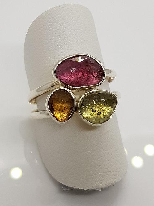 Silberring mit 3 Turmalinen in verschiedenen Farben