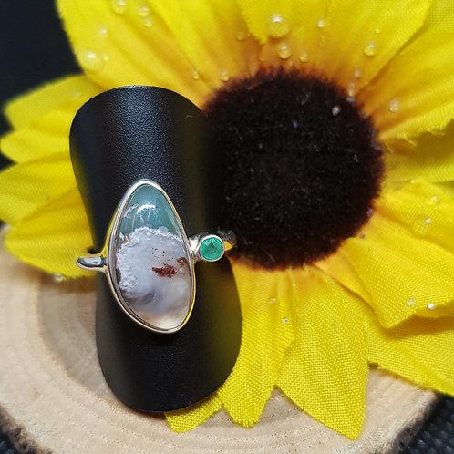 Silberring Aquapras und Smaragd Starborn