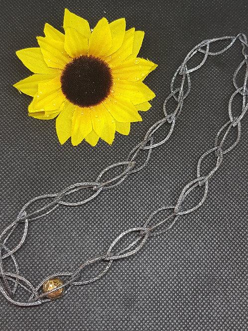 Designerkette Silber geschwärzt teilvergoldet EvaStone
