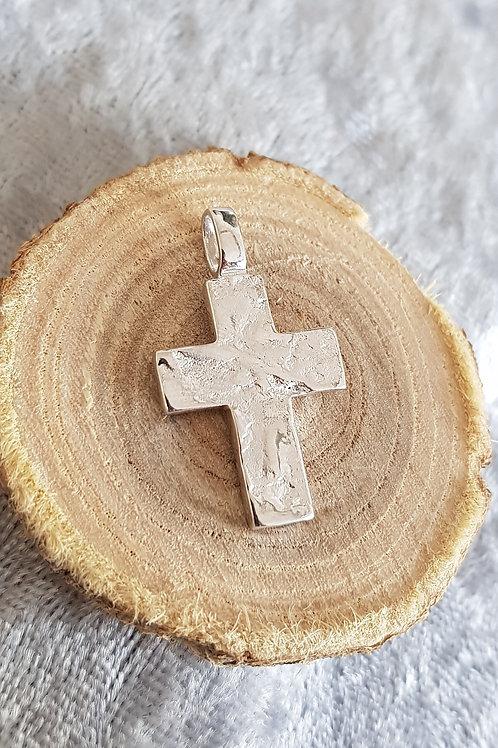 Silberkreuz ohne Stein, strukturiert