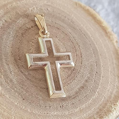 Filigranes Kreuz in 333 (8ct) Gelbgold/Weißgold