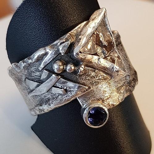 """Statementring Silber, Handarbeit,mit Meteorit """"Campo del Cielo"""""""