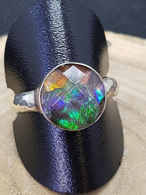 Silberring mit Ammolit Triplette, von Starborncreations