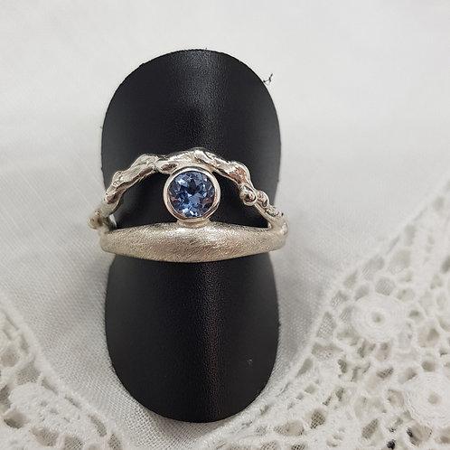 Ring Silber, eigene Fertigung mit Blautopas