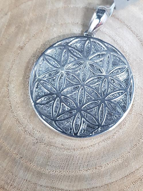 """Silberanhänger """"Blume des Lebens"""" mit Gibeon-Meteorit"""