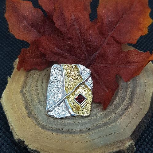 Designeranhänger Silber teilvergoldet, mit Granat, EvaStone