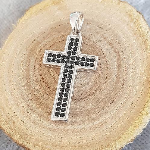 Kreuz Silber mit schwarzen Zirkonia