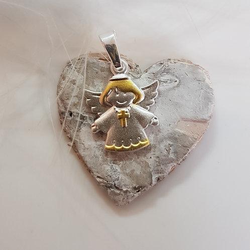 Kleiner Engel in Silber, teilvergoldet, matt