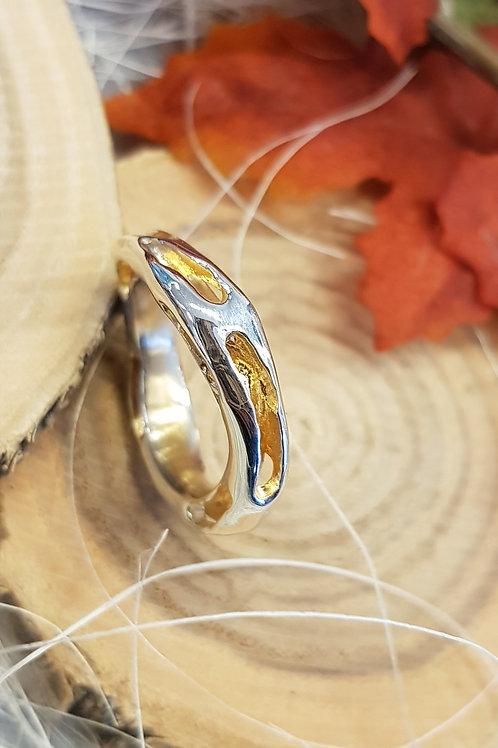 Silberring durchbrochen mit Vergoldung, glänzend