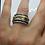 Thumbnail: Designerringin Silber, geschwärzt und teilvergoldet