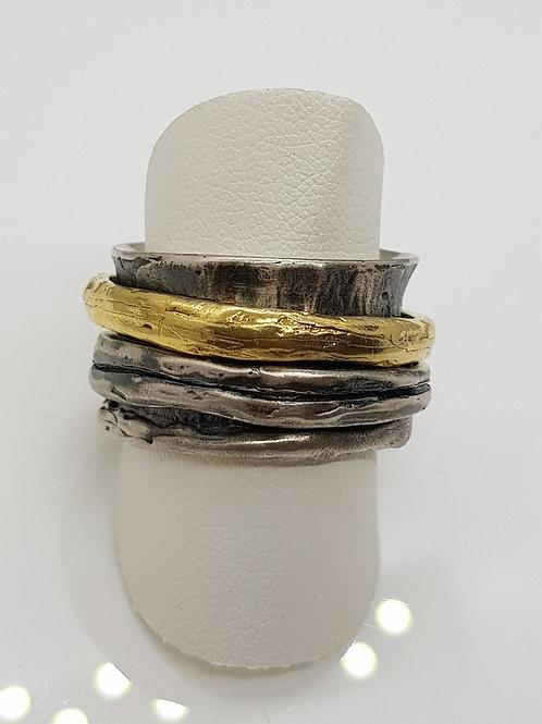 Designerringin Silber, geschwärzt und teilvergoldet