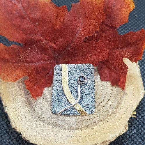 Designeranhänger Silber teilvergoldet,teilgeschwärzt mit Granat, EvaStone