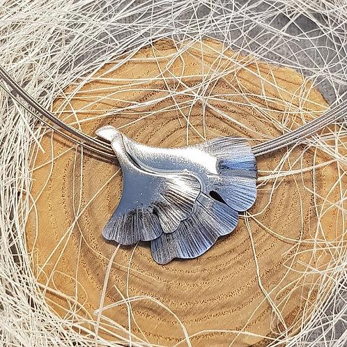 Collier Silber, 2 Gingko Blätter