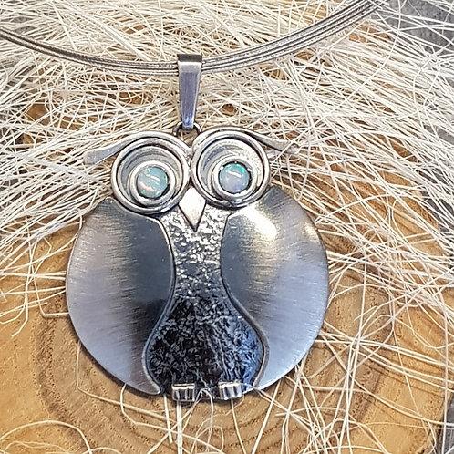 Collier Eule mit Opalaugen, Silber mit Stahlcollier