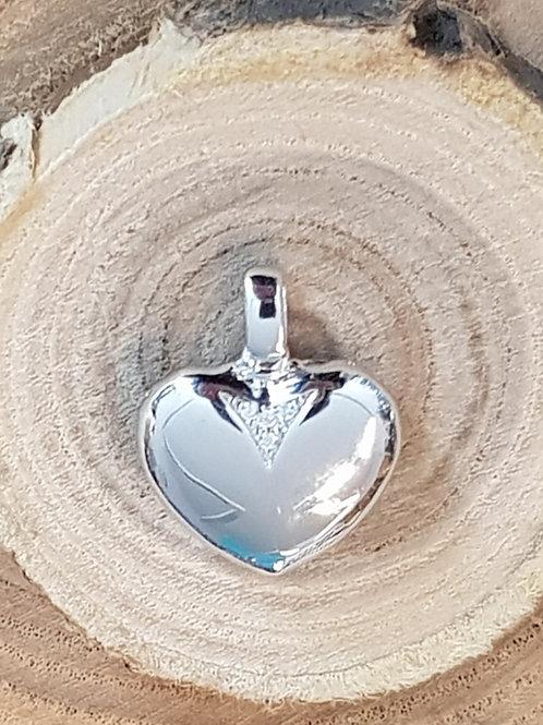 Anhänger Silber, Herz mit Zirkonia