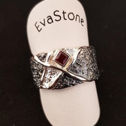 Designerring, Sterlingsilber, mit Granat, von EvaStone