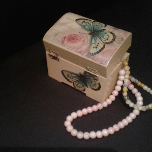 Cream Butterfly Trinket Box