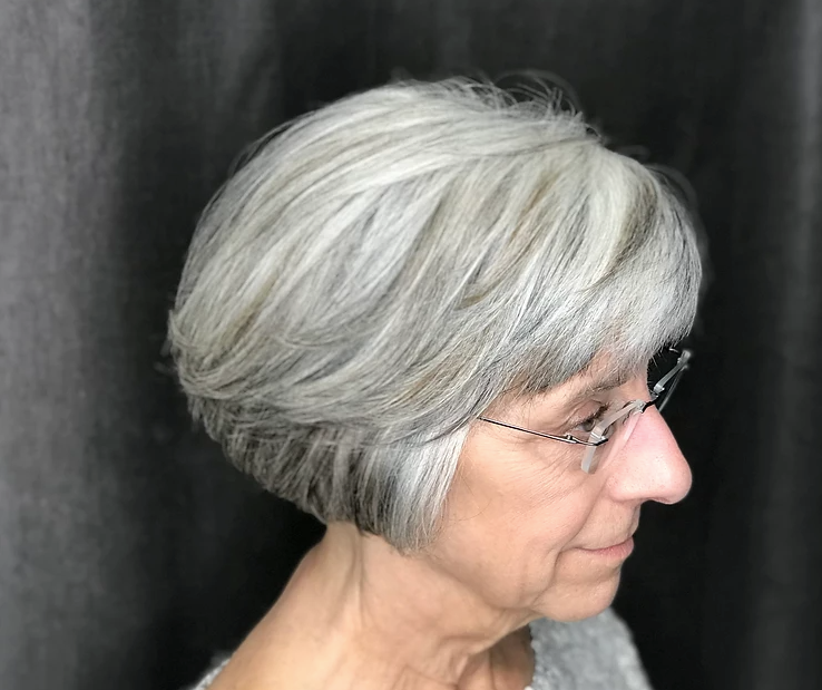 Lovely grey hair bob