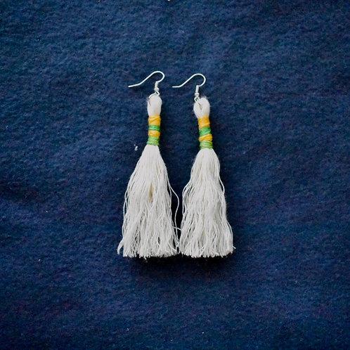 Long macrame tassel earrings