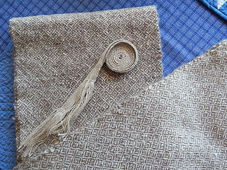 Handspun and handwoven fabric wth inkle belt
