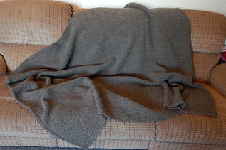 Handspun handwoven dark grey blanket