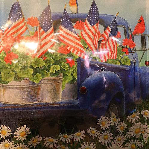 Patriotic Pickup Truck Premium Garden Flag