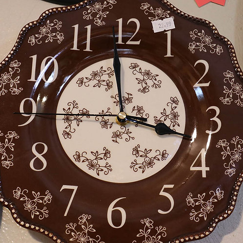 Brown Country Floral Pattern Wall Clock