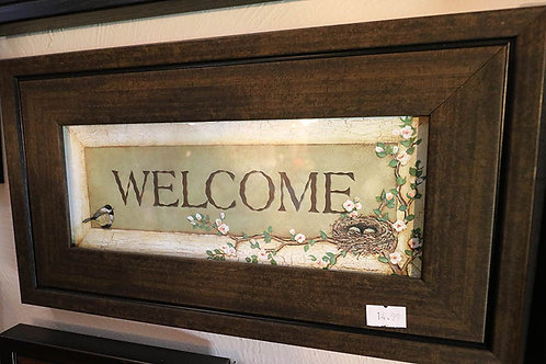 Welcome Text Print in Frame