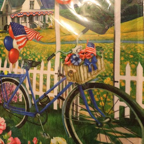 Patriotic Bicycle Premium Garden Flag