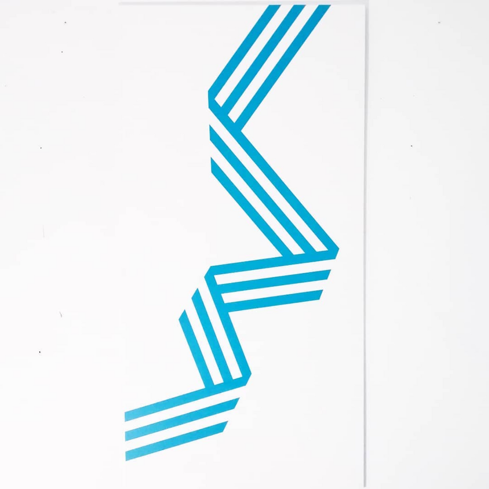Zip (2019) - enamel on aluminum, 100x50 cm
